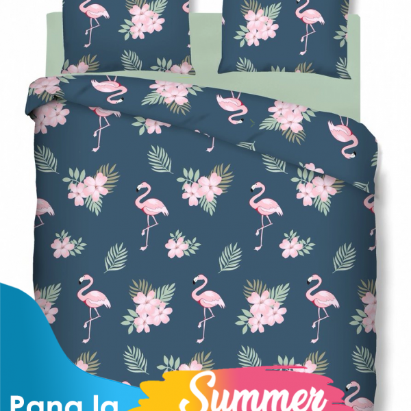 Lenjerie dubla Bedora Flamingo bumbac ranforce 4 piese