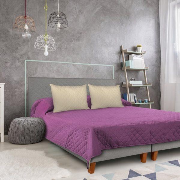 Cuvertura matlasata Alcam 2 fete 210x220cm Purple/Vanila
