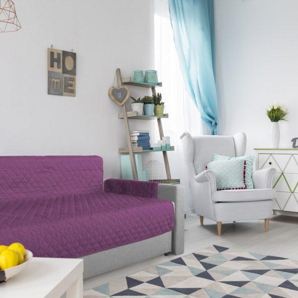 Husa matlasata doua fete pentru canapea 3 locuri Alcam Purple/Vanila