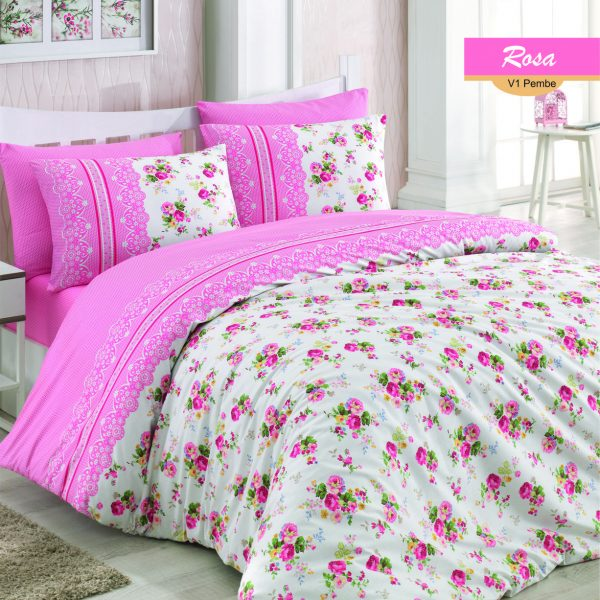 Lenjerie dubla Majoli Home CollectLenjerie dubla Majoli Home Collection 4 piese bumbac ranforce Rosaion 4 piese bumbac ranforce Rosa