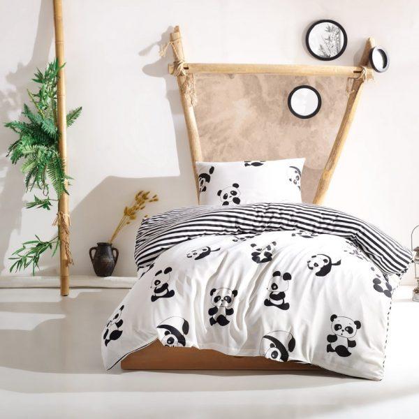 Lenjerie pat single EnLora Home 2 piese Panda Black White