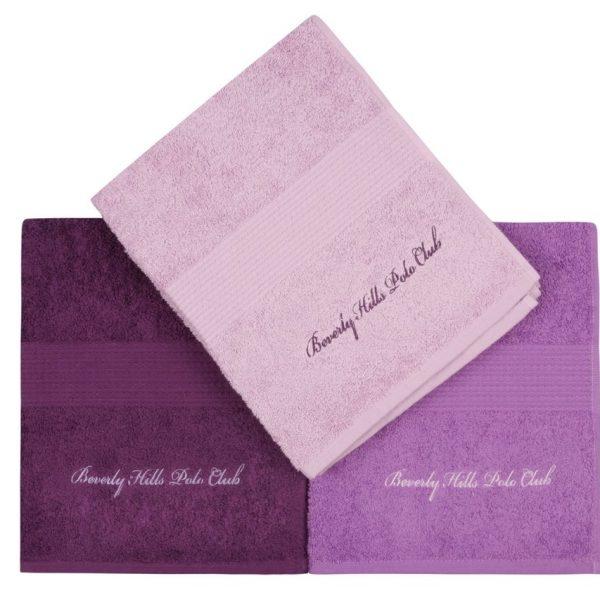 Set 3 prosoape baie 50x100cm Beverly Hills Polo Club Lilac/Purple