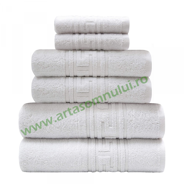 Set 6 Prosoape hoteliere 50x90cm bumbac pakistanez 550gr greek border