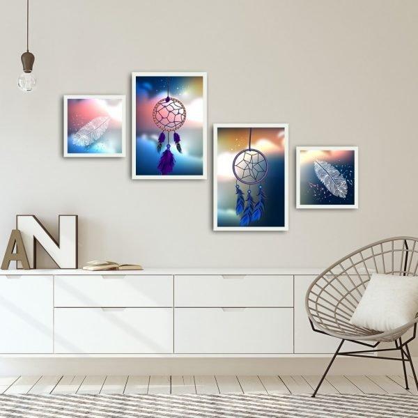 Set 4 tablouri Alpha Wall Dream Catcher 30x30/35x50 cm