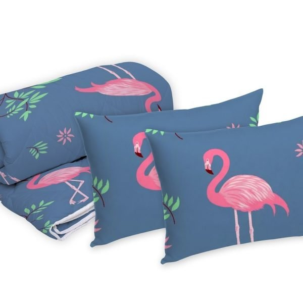 Set Alcam 2 perne microfibra 50x70cm+pilota matlasata 180x200cm Pink Flamingo