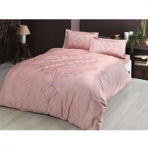 Lenjerie king size Bruna roz 100% bumbac satinat TAC Mako