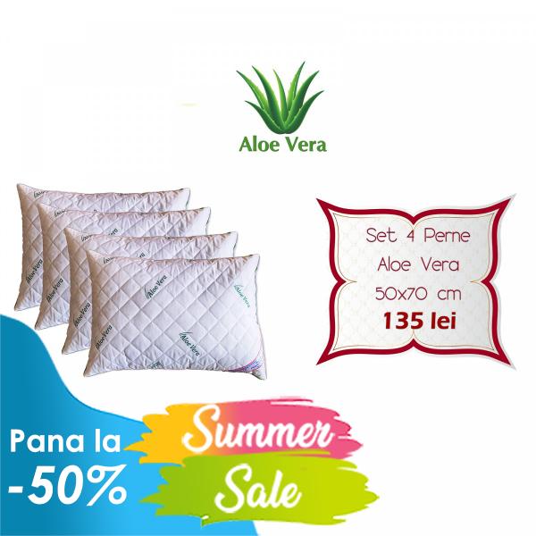 Set 4 Perne Aloe Vera matlasate Hypo-Alergice 50x70cm S4SPMA50-70