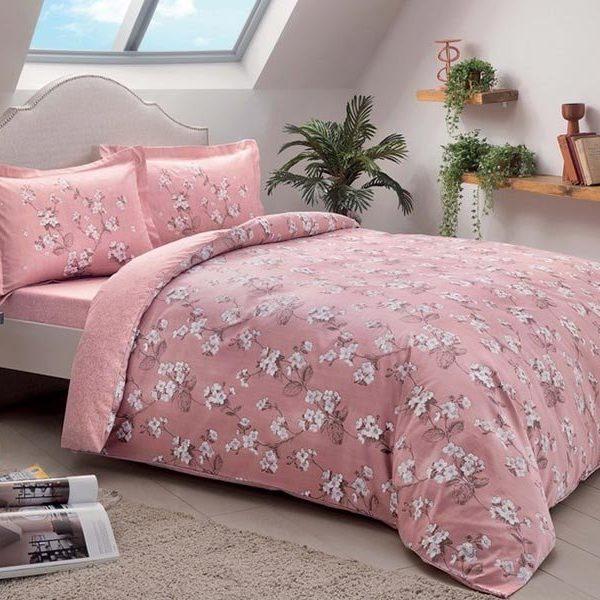 Lenjerie king size Lennie pink 100% bumbac satinat TAC Mako