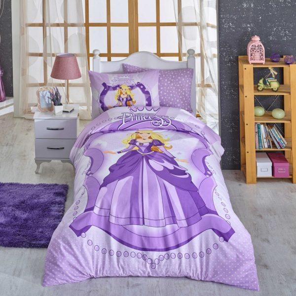 Lenjerie de pat o persoana 3 piese 100% bumbac ranforce Hobby Princess Lilac