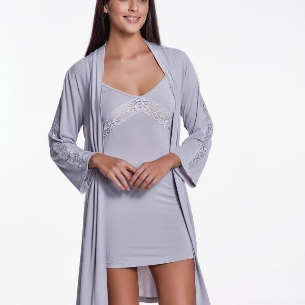 Set cămașă de noapte și halat de casă 100% bambus Luisa Moretti 34/36 S Argintiu