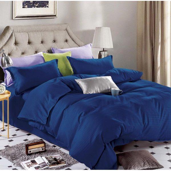 Lenjerie king size Damasc 100% bumbac Albastru marin