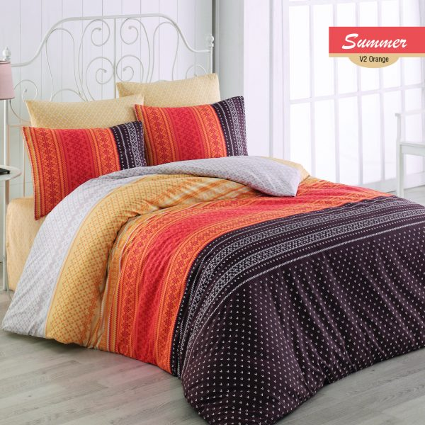 Lenjerie King Size Summer v2 Majoli Home Collection 4 piese bumbac ranforce portocaliu